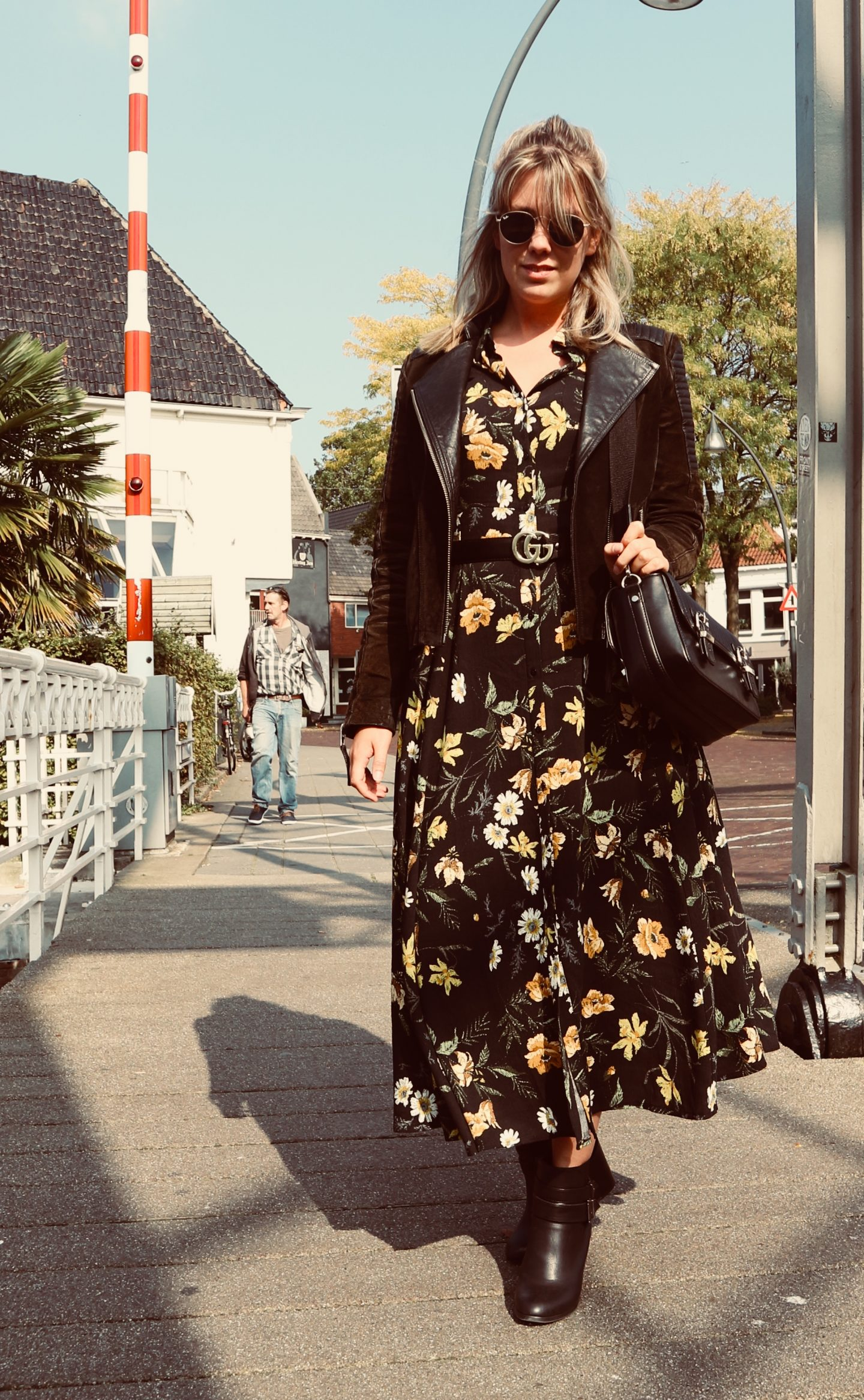 dress, midi dress, maxi dress, transition outfit, floral dress, gucci belt, gucci belted dress