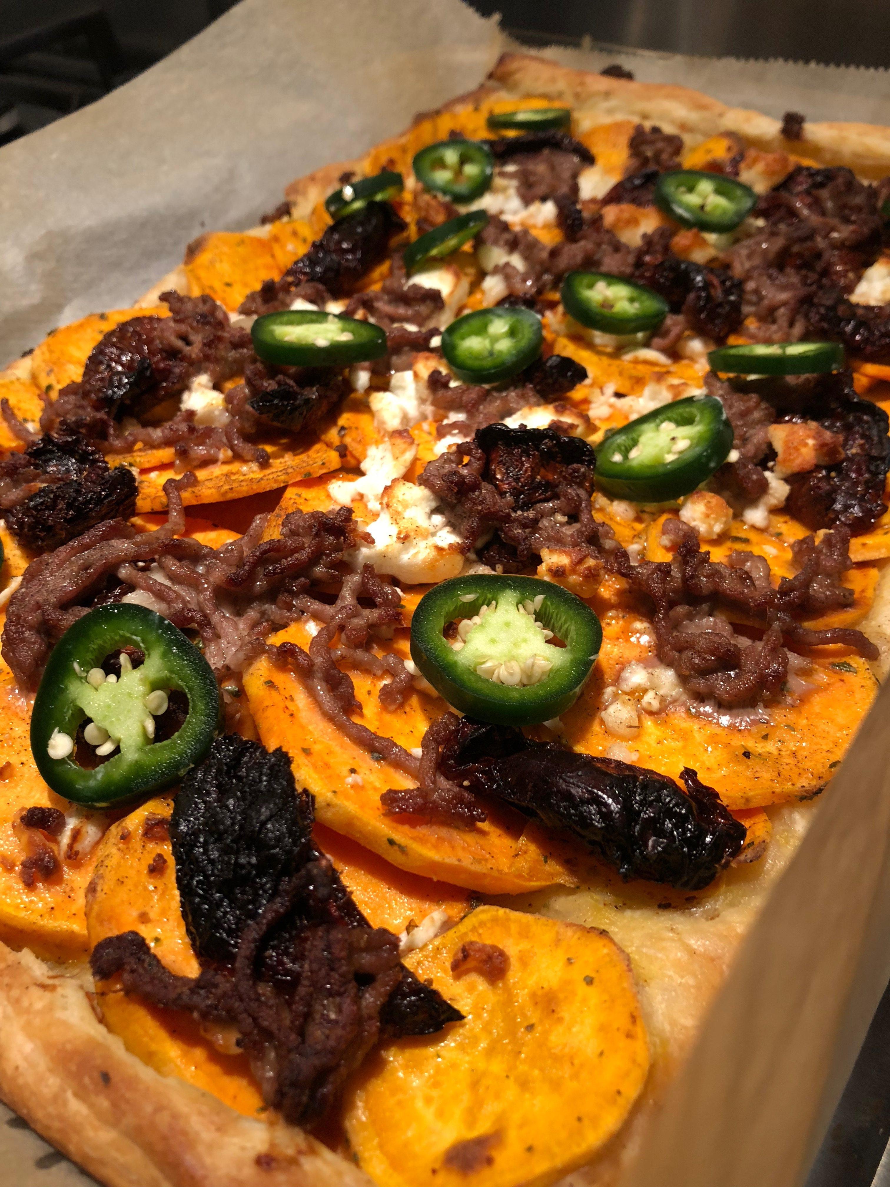 recipe, goat cheese pizza, puff pastry sheet cake, sweet potato sheet cake